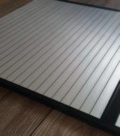Silver Aluminium effect Tambour door slat with Black finger rail
