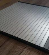 Silver Aluminium effect Tambour door slat with Grey finger rail