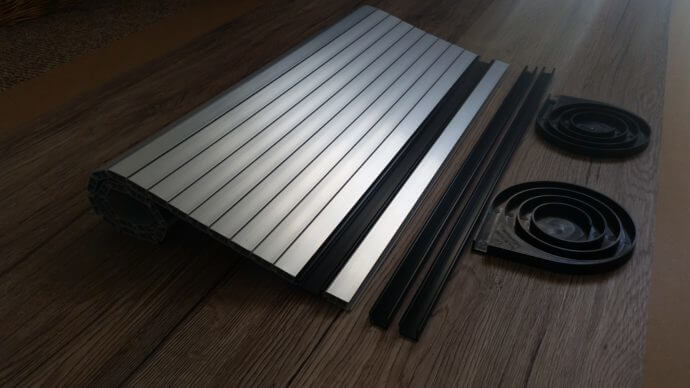 Silver Aluminium effect Tambour roller Door