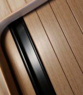 Beech Tambour door slat black handle rail 3